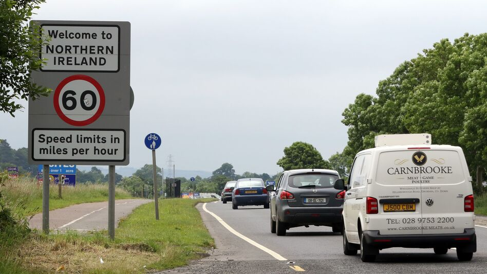 Cars cross the fluid border between Ireland and Northern Ireland in Donegal, Ireland, on June 25, 2016. The result of Britain's referendum vote to leave the European Union has ignited a debate over whether the border will need to establish customs checks and tariffs. (Paul Faith /AFP/Getty Images)