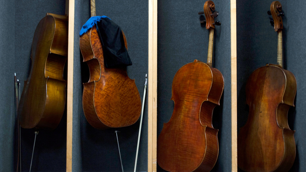 Cellos are lined up backstage at the Chicago Symphony Orchestra before a Nov. 8 rehearsal of Schubert