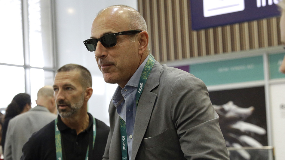 "Former NBC TV host Matt Lauer says,""Repairing the damage will take a lot of time and soul searching,"" after he was fired over allegations of sexual misconduct. He's seen here arriving at Rio de Janeiro International Airport for the 2016 Olympics last year."