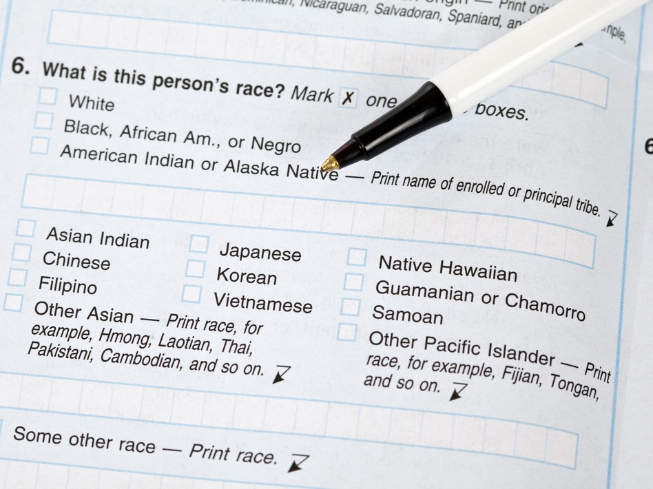 """If the White House approves a proposal to change the way the government collects race and ethnicity data, white people in the U.S. may be asked to check off boxes about their ethnic background. On this 2010 census form, answering """"white"""" was enough to respond to the race question. (blackwaterimages/Getty Images)"""