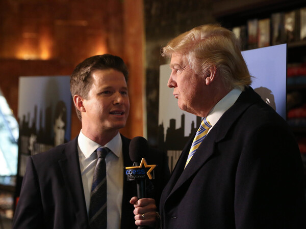 Donald Trump interviewed by Billy Bush of Access Hollywood at a Celebrity Apprentice Red Carpet Event at Trump Tower in January 2015 in New York City.