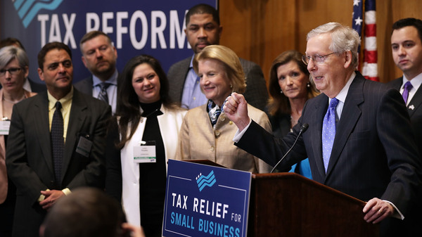 Senate Majority Leader Mitch McConnell addressed a tax reform news conference on Capitol Hill last Thursday, alongside Sen. Shelley Moore Capito of West Virginia and representatives of small business groups.