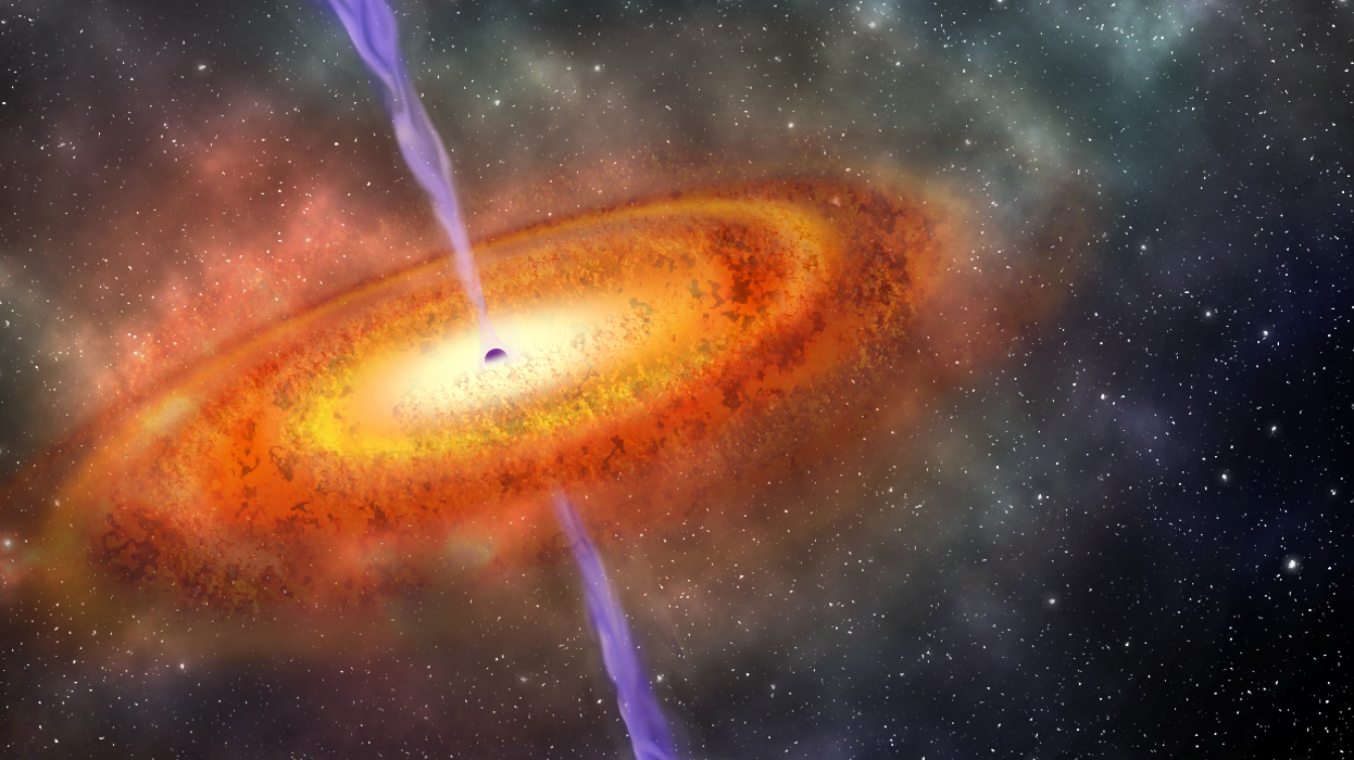 An artist's conception of the most-distant supermassive black hole ever discovered which is part of a quasar from just 690 million years after the Big Bang