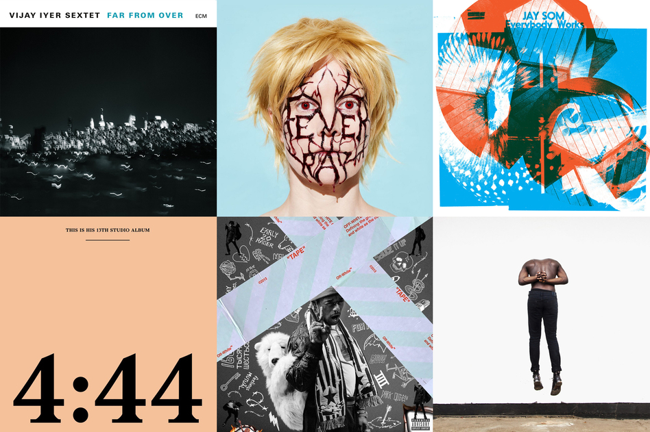 A selection of NPR Music's best 50 albums of 2017. (Clockwise from upper left) <em>Far from Over </em>by Vijay Iyer, <em>Plunge </em>by Fever Ray, <em>Everybody Works</em> by Jay Som, <em>Aromanticism</em> by Moses Sumney, <em>Luv Is Rage 2</em> by Lil Uzi Vert and <em>4:44 </em>by Jay-Z.