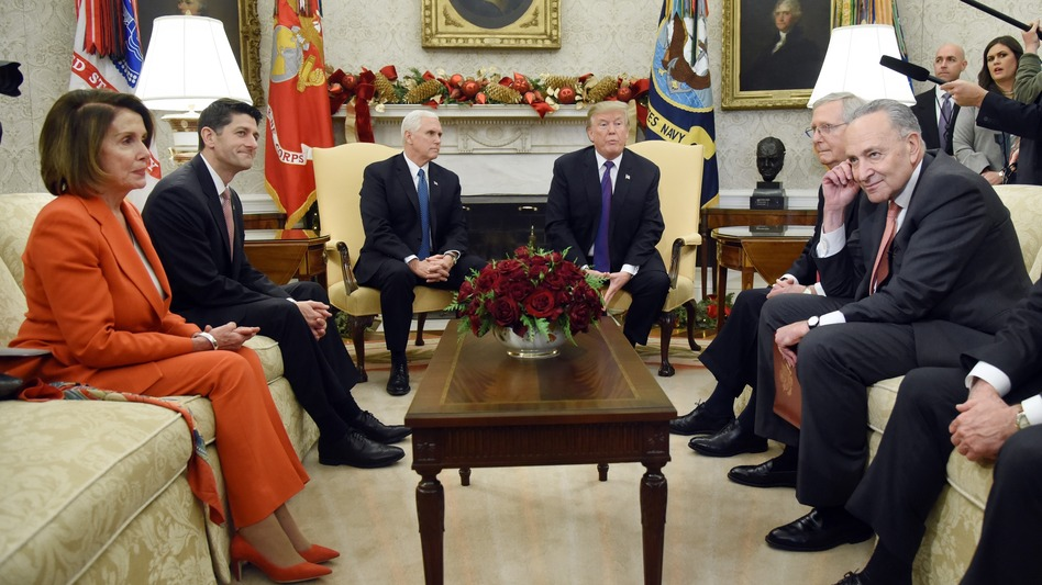 President Trump and Vice President Pence meet with congressional leadership including House Minority Leader Nancy Pelosi, D-Calif., House Speaker Paul Ryan, R-Wis., Senate Majority Leader Mitch McConnell, R-Ky., and Senate Minority Leader Chuck Schumer, D-N.Y., in the Oval Office on Thursday. (Olivier Douliery-Pool/Getty Images)