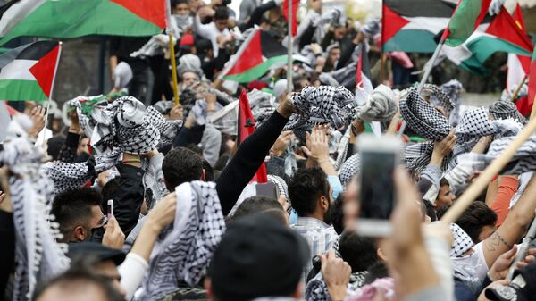 Protesters in Beirut waved the Palestinian flag Sunday in response to President Trump