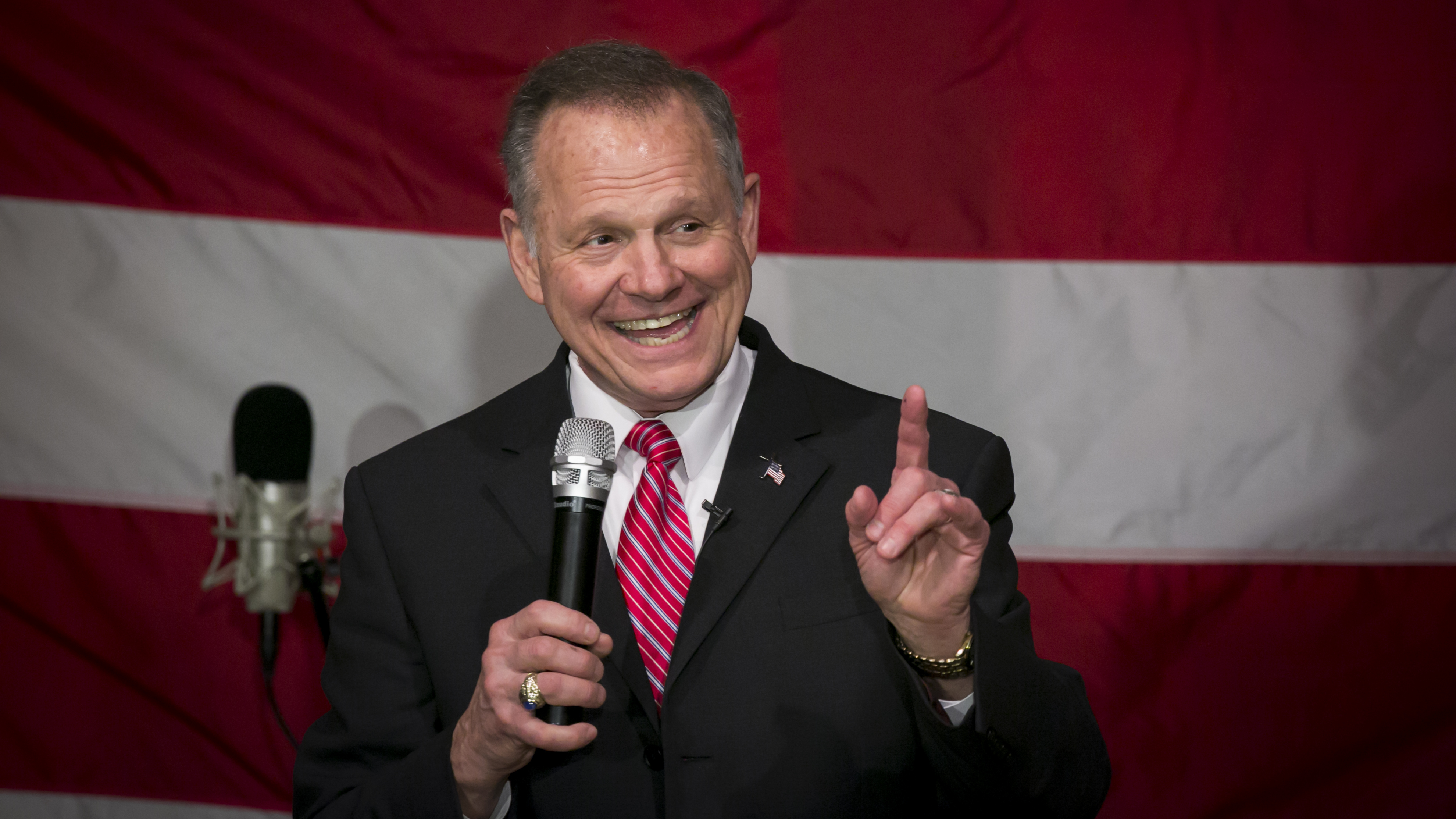 Republican Senate candidate Roy Moore has dismissed the allegations of sexual misconduct against him as politically motivated. (Nicole Craine/Bloomberg via Getty Images)