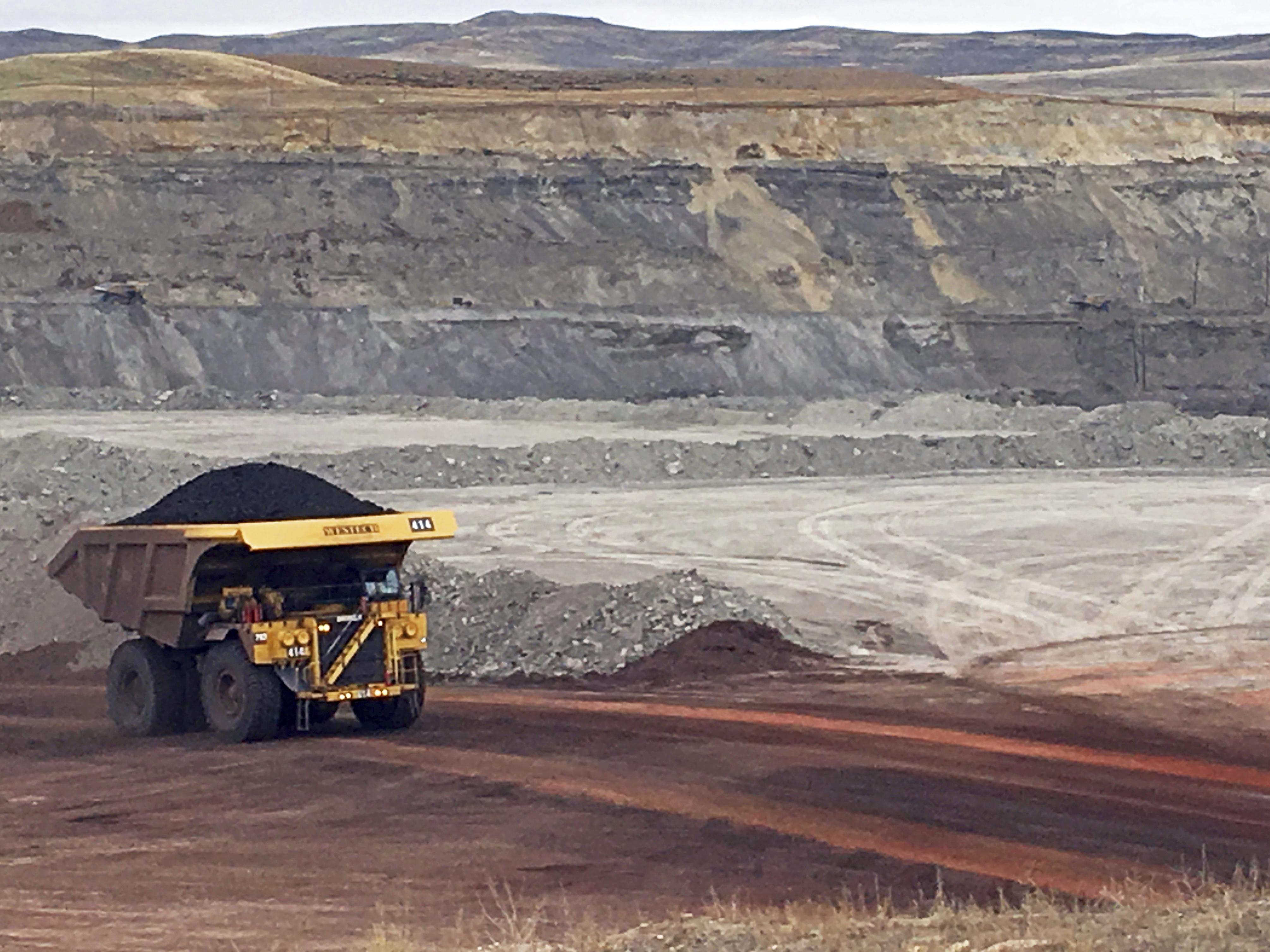 A dump truck hauls coal at Contura Energy's Eagle Butte Mine near Gillette, Wyo.