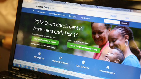 The homepage of the Affordable Care Act exchange on Nov. 1, 2017 in Miami. The open enrollment period to sign up for a health plan on HealthCare.gov runs through Dec. 15; several states with their own health care exchanges have later deadlines.