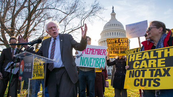 Sen. Bernie Sanders, the Vermont independent, joined protesters outside the U.S. Capitol in late November, as Republicans in the Senate worked to pass a sweeping tax bill.