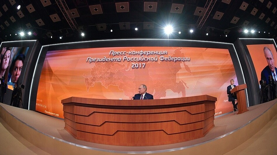 Russian President Vladimir Putin is seen at his annual news conference, in an image released by the Kremlin. (The Kremlin)