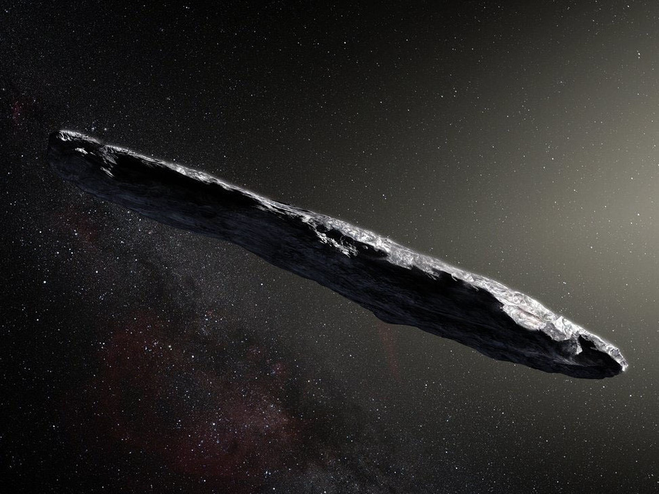 This artist's impression shows the first sighted interstellar asteroid, Oumuamua, discovered on Oct. 19, 2017. (M. Kornmesser/ESO/NASA)