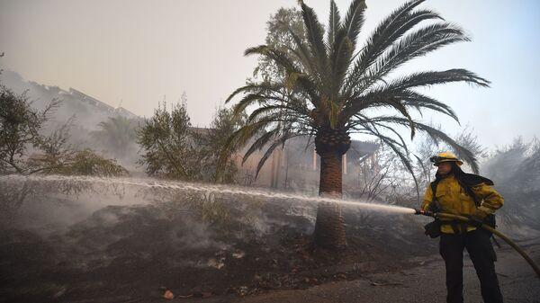 A firefighter douses flames around a house that was saved while the property around it burned as winds picked up and pushed the fire west Saturday in Montecito, Calif.