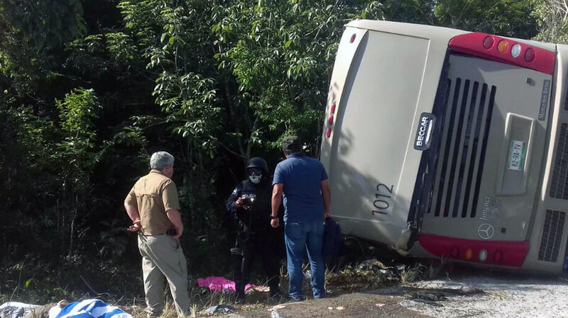 12 Dead After Crash Of Tourist Bus Headed For Mayan Ruins In Mexico