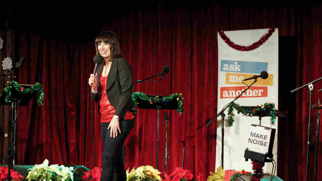 Host Ophira Eisenberg at the Ask Me Another holiday special, at the Bell House in Brooklyn, New York.