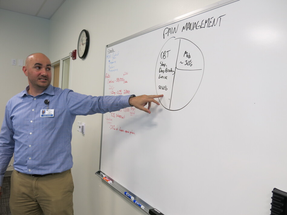 Will Gersch teaches a class as part of a Colorado Kaiser Permanente pain management clinic. (John Daley / Colorado Public Radio)