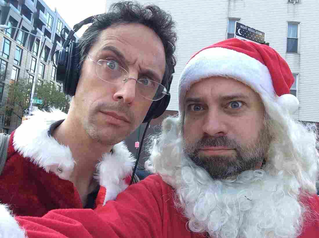 Jacob and Robert take a Santa selfie