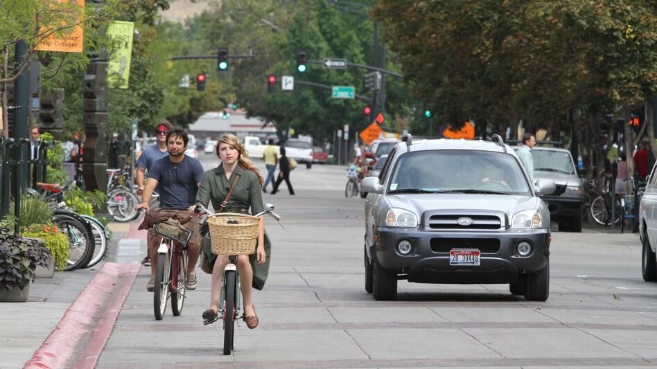 Bikers pedal through downtown Boise, Idaho, on Sept. 14, 2010. (Charlie Litchfield/AP)
