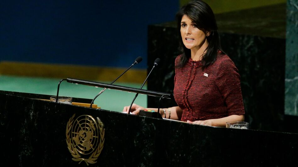 "U.S. Ambassador to the U.N. Nikki Haley told the General Assembly on Thursday: ""To its shame, the United Nations has long been a hostile place for the state of Israel."" (Eduardo Munoz Alvarez/AFP/Getty Images)"