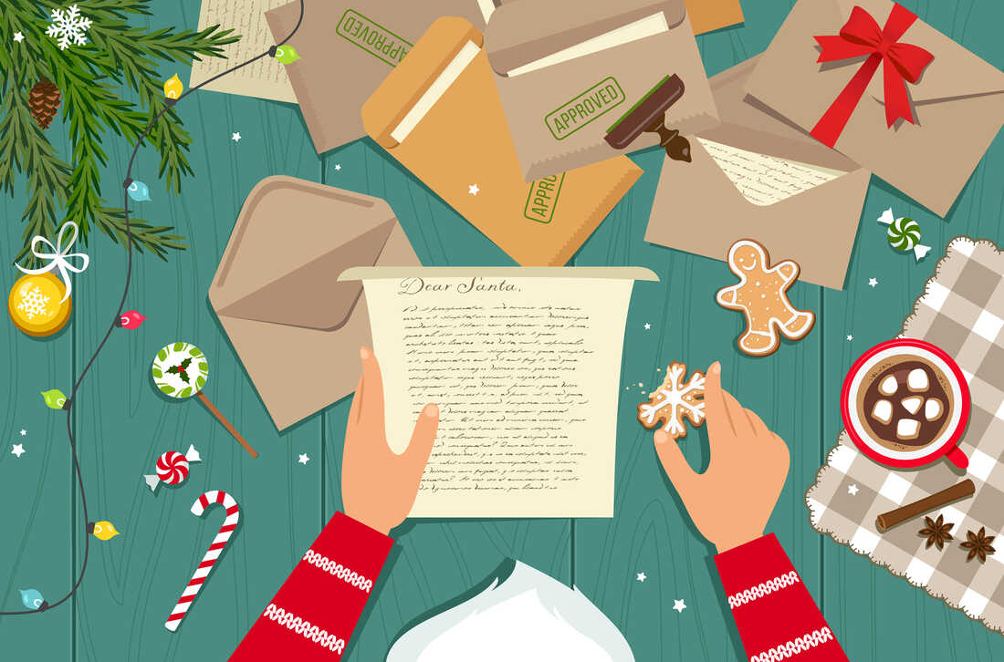 Santa Claus reading his mail. High angle view.