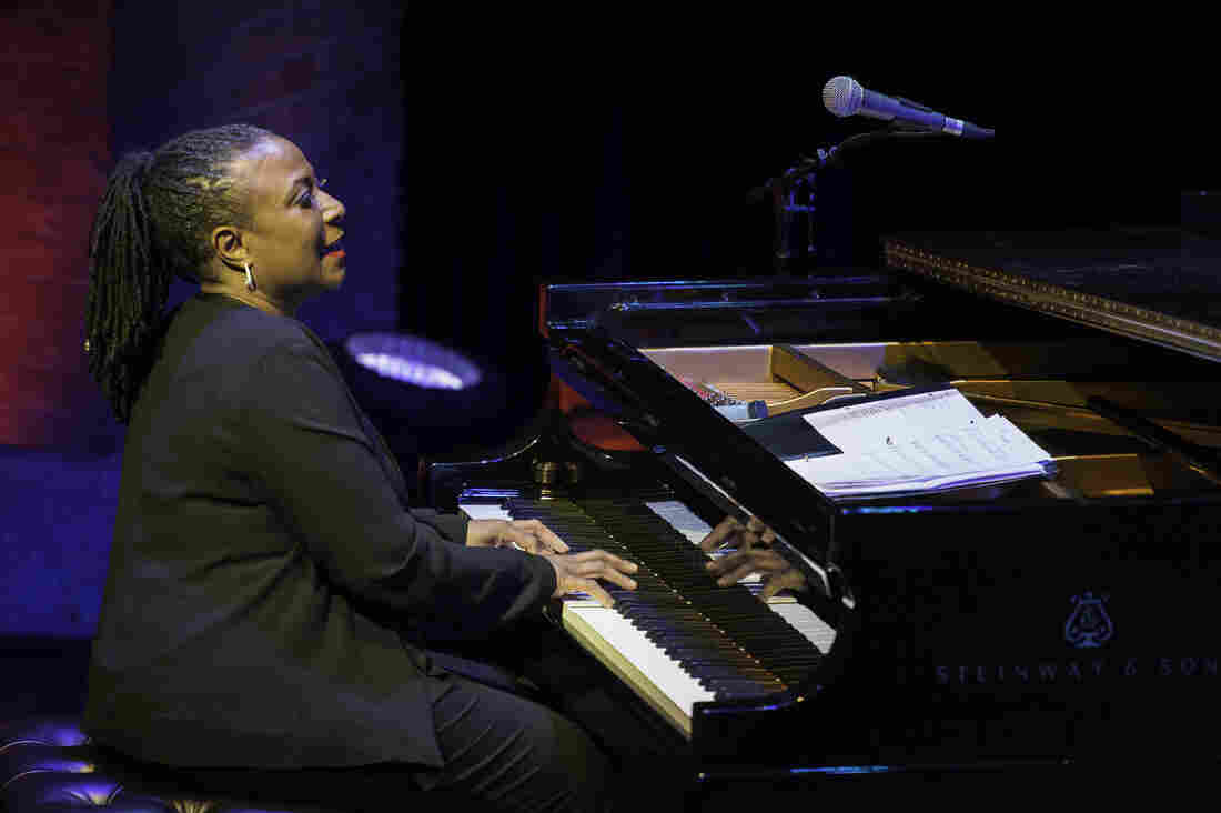 Jazz musician Geri Allen plays piano as she leads her trio at the Harlem Stage Gatehouse in New York City on March 13, 2014.