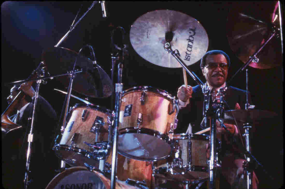Jazz drummer Grady Tate performs during the One Night With Blue Note concert in New York City in 1985.