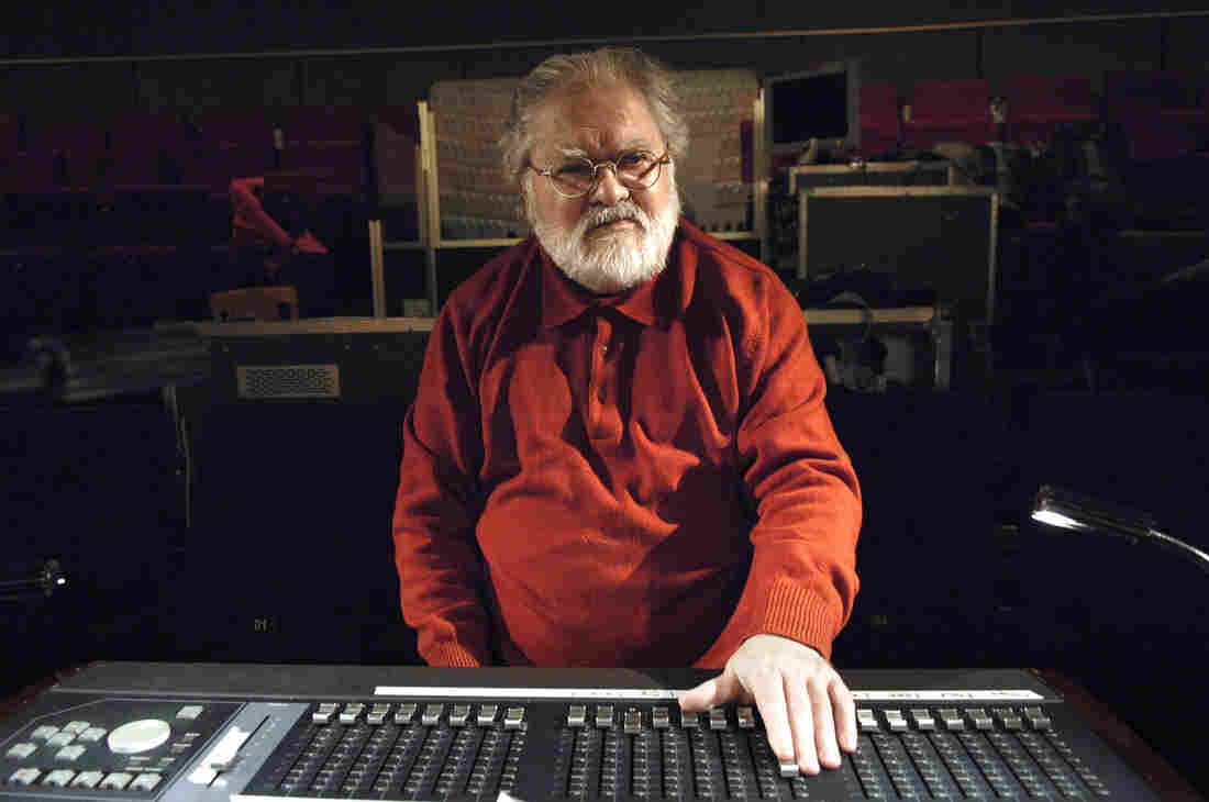 French musician Pierre Henry works in a studio in Paris in 2008.