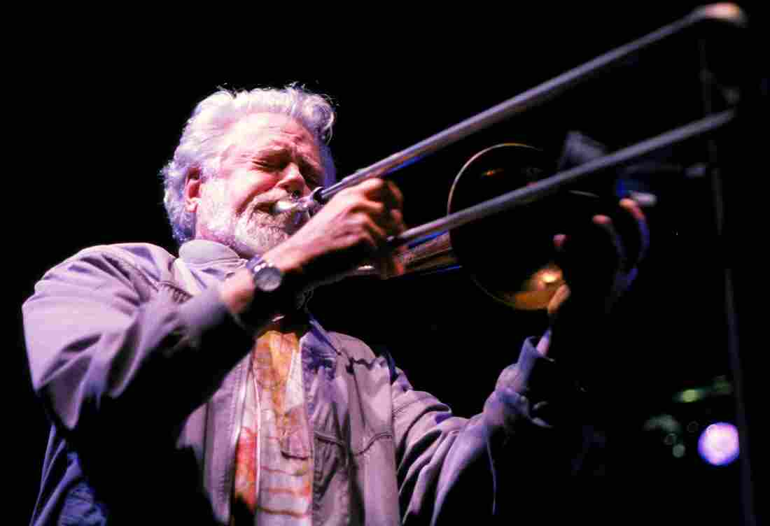 Free jazz trombonist Roswell Rudd performs in 2000.