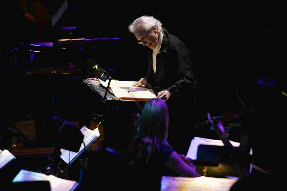 David Axelrod conducts at the Royal Festival Hall in the United Kingdom in 2004.