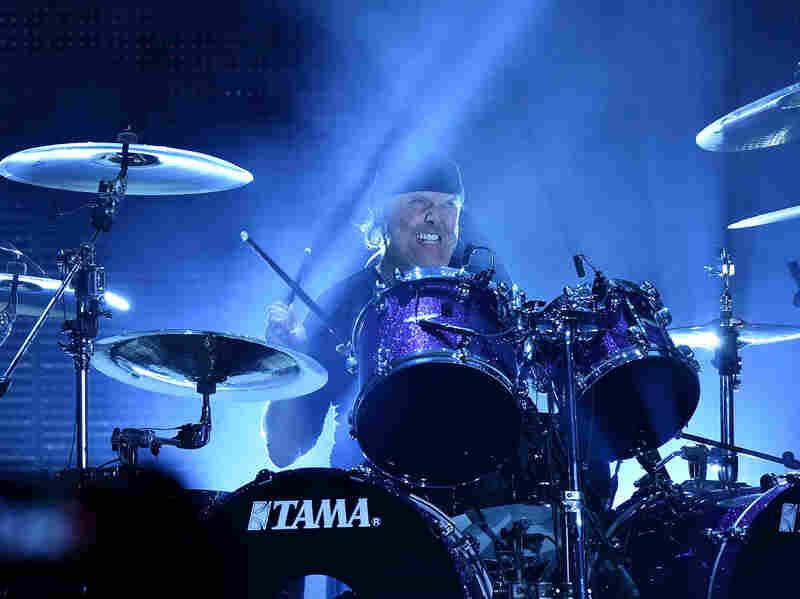 Lars Ulrich of Metallica performs in concert.