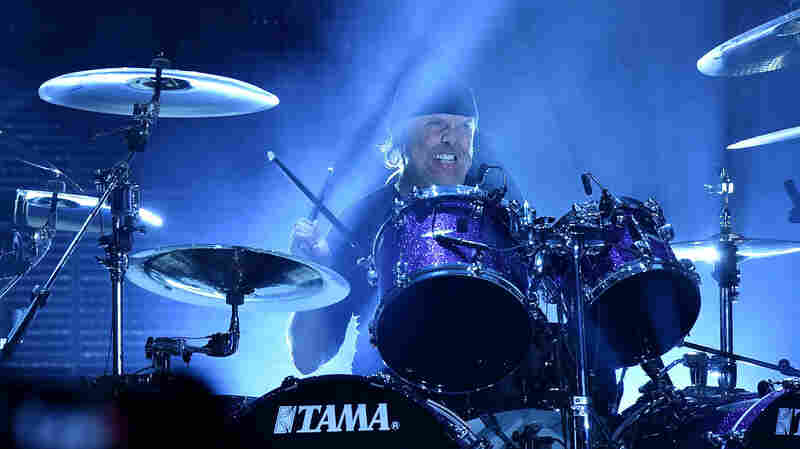 Lars Ulrich of Metallica performs in concert.