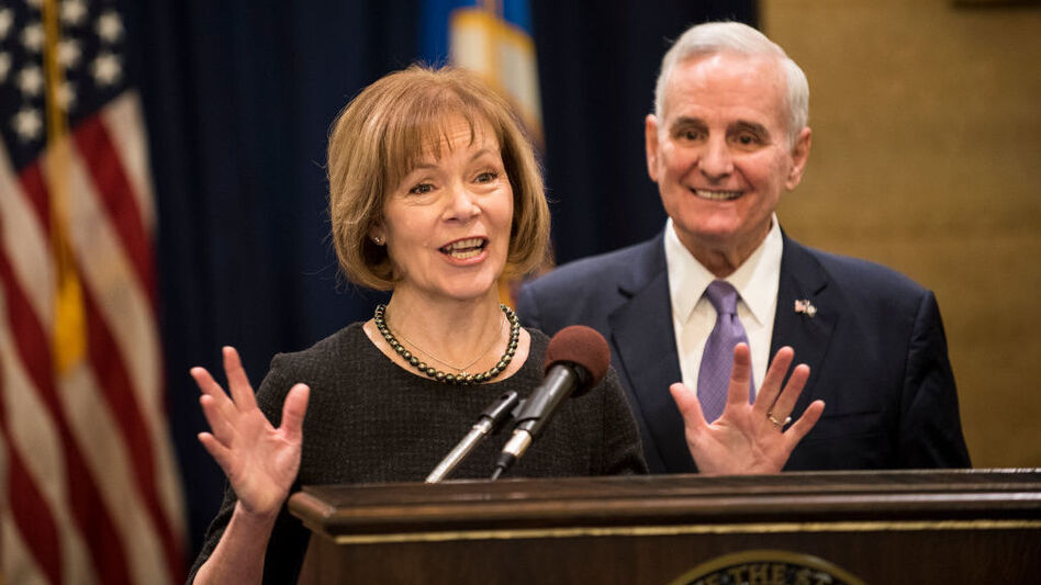 Minnesota Lt. Gov. Tina Smith fields questions after being named the replacement for Sen. Al Franken by Gov. Mark Dayton last month.