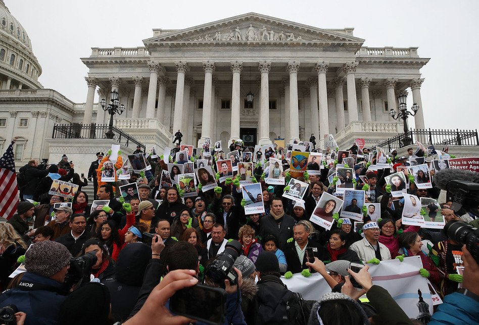 People who call themselves DREAMers protest in front of the Senate side of the U.S. Capitol to urge Congress in passing a legislative fix for the Deferred Action for Childhood Arrivals (DACA) program, on December 6, 2017, in Washington, D.C. (Mark Wilson/Getty Images)
