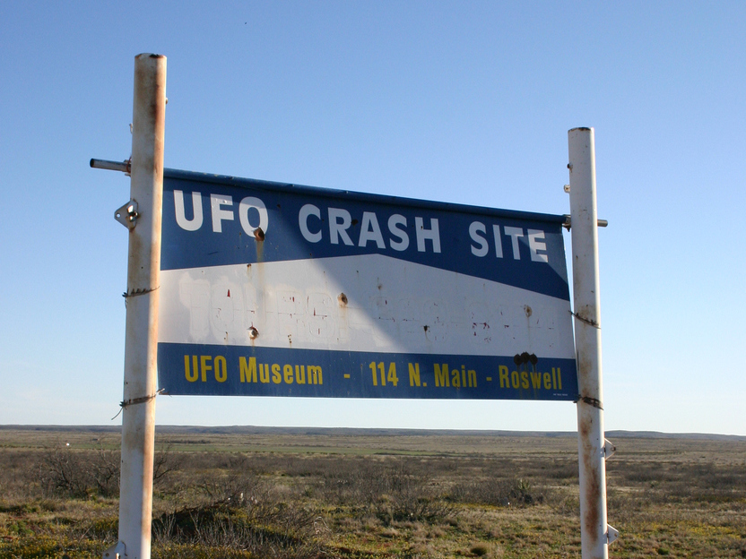 A sign marks the path leading to a supposed UFO crash site outside Roswell, N.M.