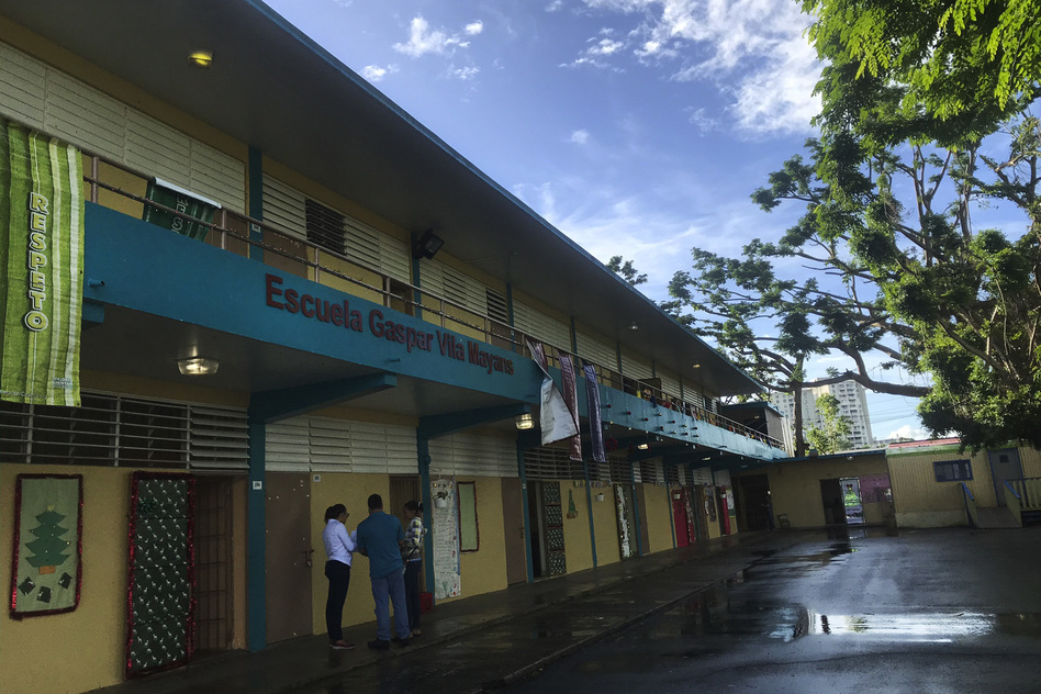 Without enough students to fill up its classrooms, Gaspar Vila Mayans elementary, a public school seated in a low-income area in San Juan, is facing the possibility of closure. (Lauren Migaki/NPR)