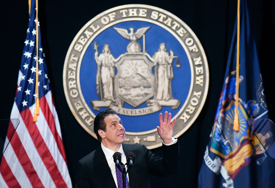 """In his State of the State address this week, New York Gov. Andrew Cuomo, a Democrat, said the new GOP tax bill is """"unconstitutional"""" and unfairly targets blue states like his. He plans to sue the federal government over it. (Hans Pennink/AP)"""