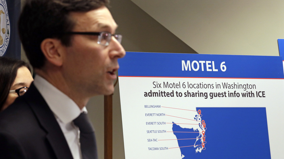Washington state Attorney General Bob Ferguson addresses a news conference Wednesday in Seattle, announcing that his office is suing Motel 6. (Elaine Thompson/AP)
