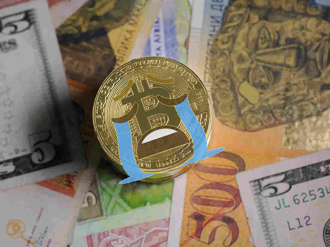 Artistic collage of a crying Bitcoin