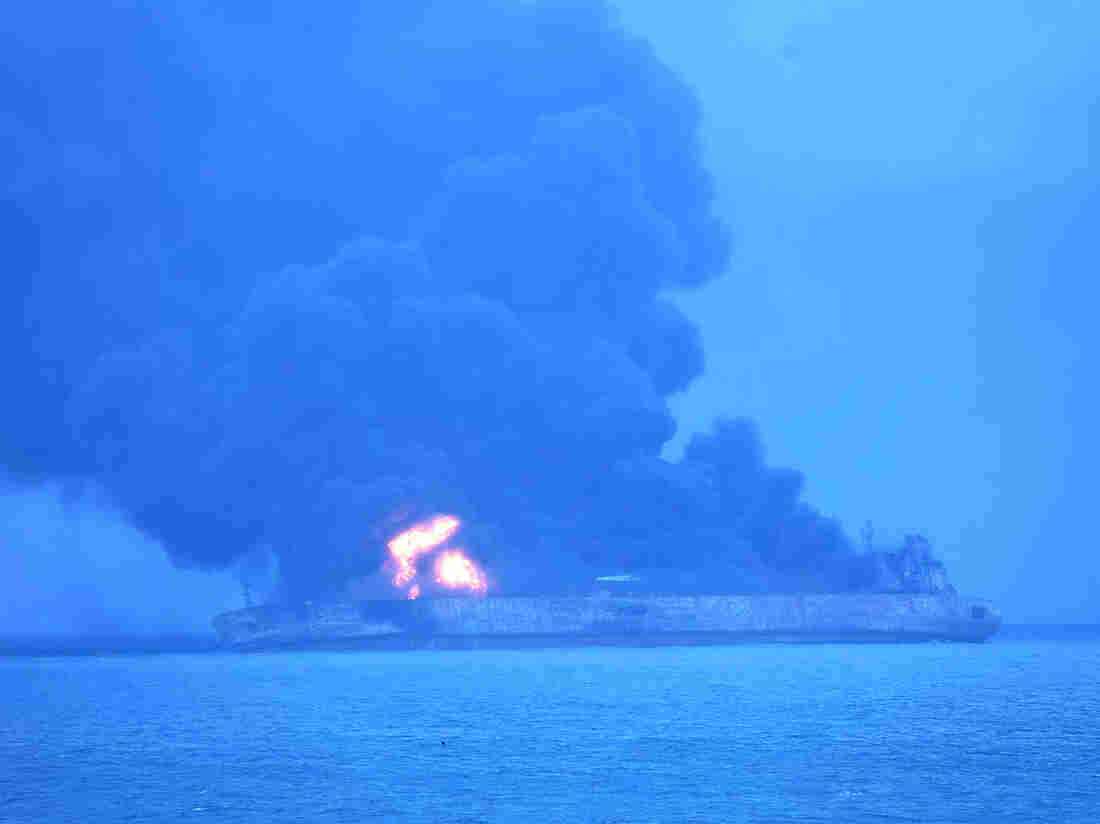 Iranian Oil Tanker Continues to Burn Three Days After Collision