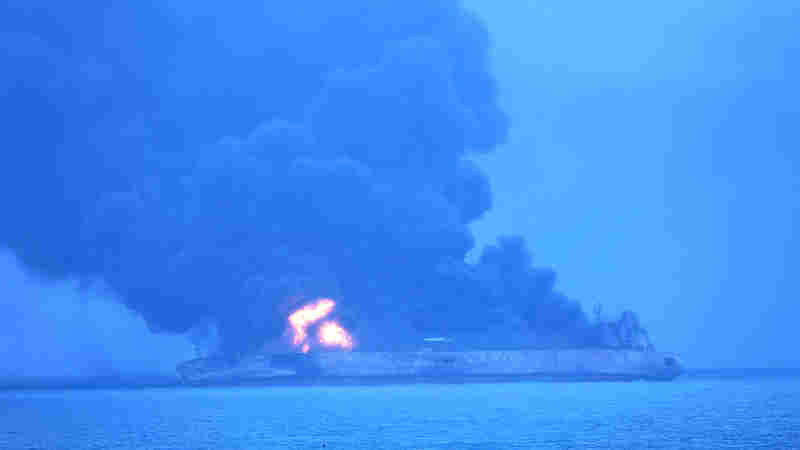 Iranian Oil Tanker Continues To Burn After Saturday Collision Off China's Coast