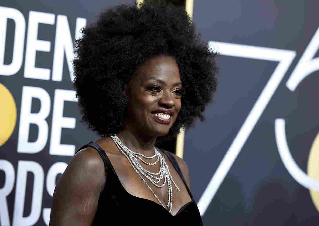 Viola Davis arrives at the 75th annual Golden Globe Awards.
