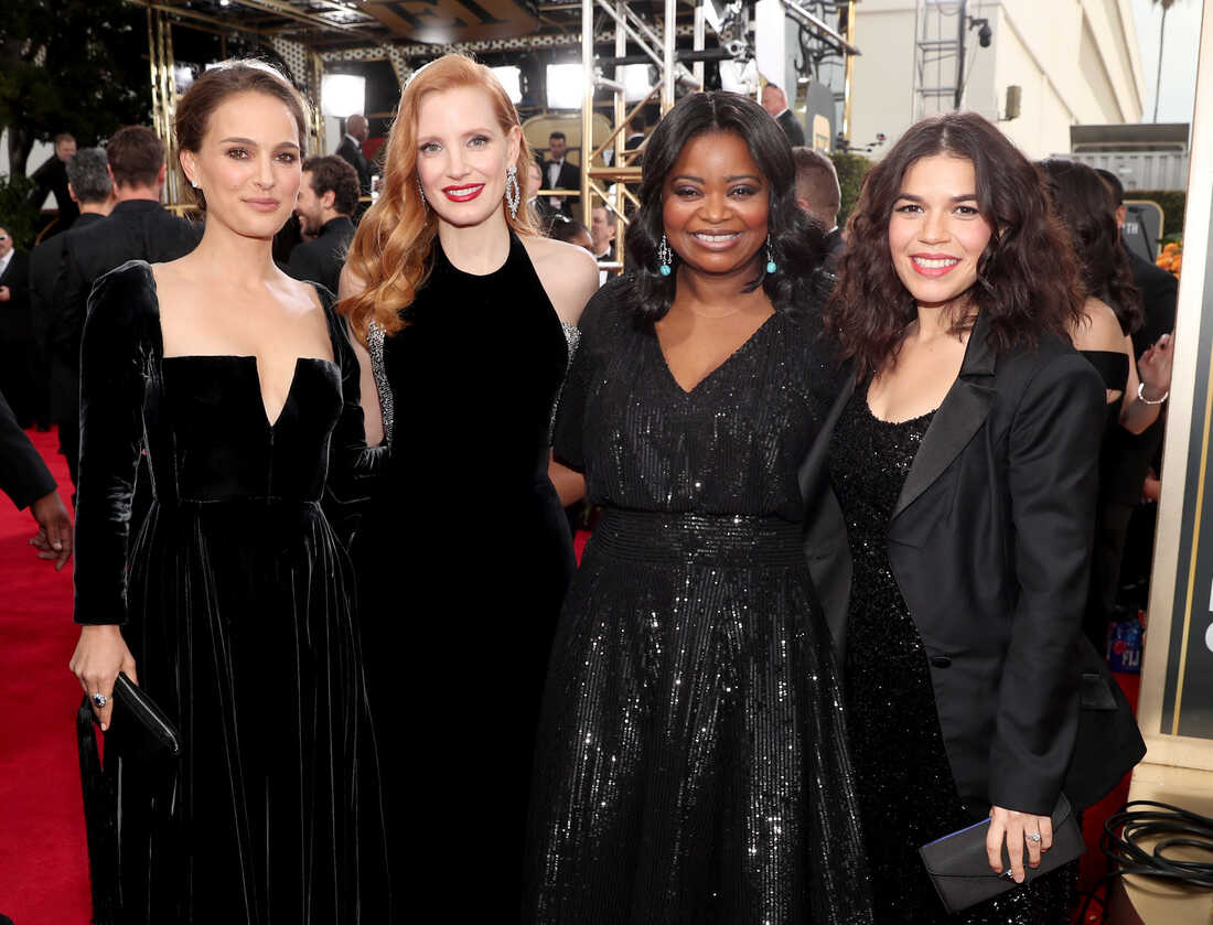 Actors Natalie Portman, Jessica Chastain, Octavia Spencer and America Ferrera arrive to the 75th Annual Golden Globe Awards.