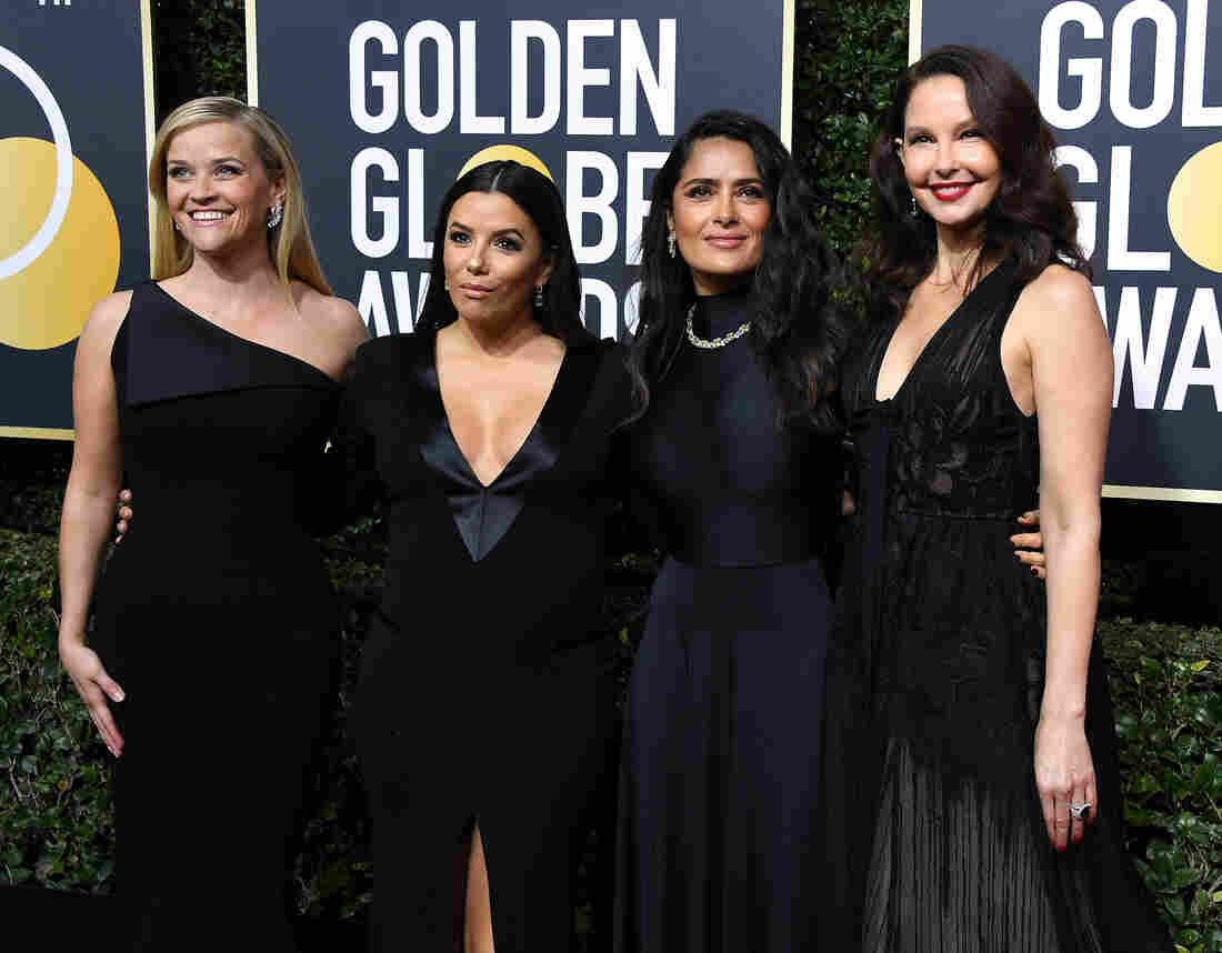 Reese Witherspoon, Eva Longoria, Salma Hayek and Ashley Judd attend The 75th Annual Golden Globe Awards.