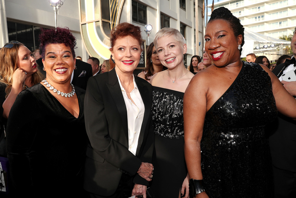 Activist Rosa Clemente (far left), actors Susan Sarandon and Michelle Williams and activist Tarana Burke (far right), arrive to the 75th Annual Golden Globe Awards held at the Beverly Hilton Hotel. Clemente is an organizer, political commentator and independent journalist. Burke is the founder of the #MeToo. movement and co-founder of Just Be You Inc. (Christopher Polk/NBCU Photo Bank via Getty Images)