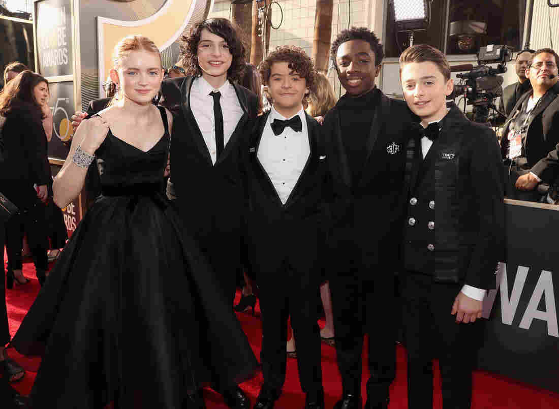 (From left to right) Actors Sadie Sink, Finn Wolfhard, Gaten Matarazzo, Caleb McLaughlin and Noah Schnapp arrive to the 75th Annual Golden Globe Awards held at the Beverly Hilton Hotel on January 7, 2018.