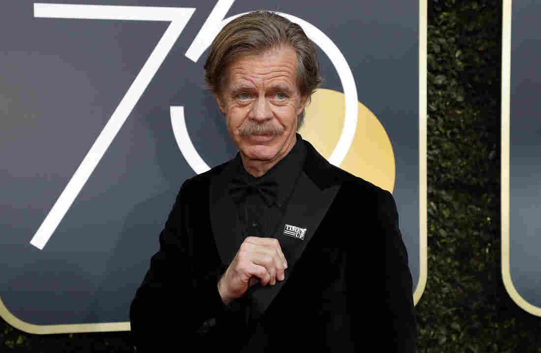 William H. Macy proudly displays his Time's Up pin at the 75th Golden Globe Awards.