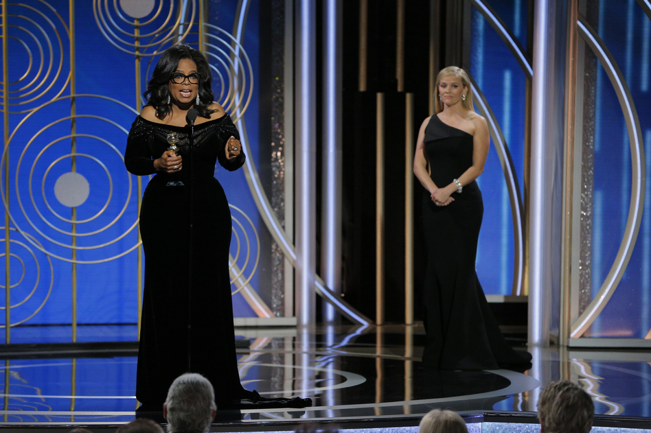 Oprah Winfrey, the first black woman to win the Cecil B. DeMille Award, spent most of her speech time at the 75th Golden Globes talking about the long fight for women's justice. (NBCUniversal via Getty Images)