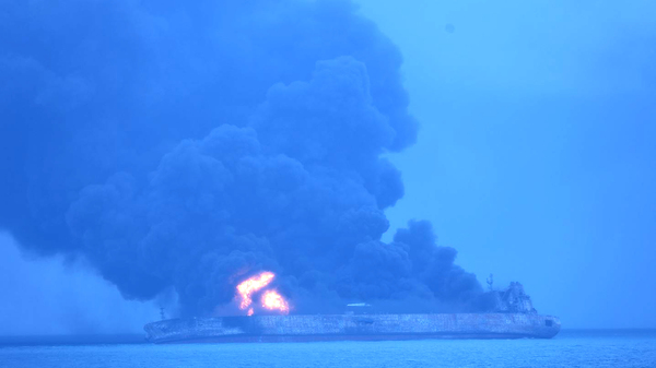 In this photo provided by Korea Coast Guard, the Panama-registered tanker Sanchi is seen ablaze after a collision with a Hong Kong-registered freighter off China