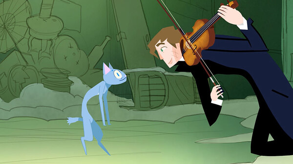In the animated short Fantasia Dei Gatti, violinist Augustin Hadelich serenades a few alley cats.