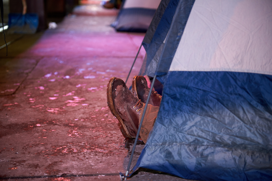 Proponents of medically supervised, indoor sites for opioid injection say such places would be much safer than tent encampments like this one — and could help people addicted to opioids transition into treatment and away from drug use. (Natalie Piserchio for WHYY)